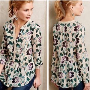 Anthropologie Maeve Butterfly Print Blouse Top